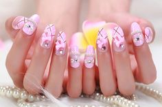 Nail Art Tutorial: How to make Pink Nails with Pattern and Rhinestones