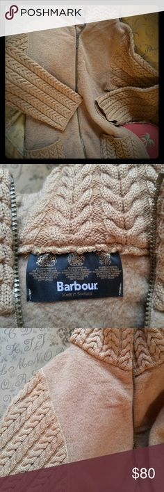 Gorgeous & Soft Barbour Cardigan Made in Scotland Rich camel color. Kniitted sleeves, pockets & high-neck collar...really snuggly! Beautiful chevron pattern. Color is the same deep camel over entire jaceket...my photos don't do it justice. Classic Barbour. Barbour Sweaters Cardigans