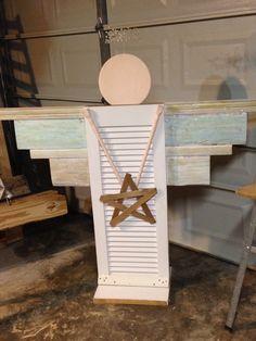 Wood shutter angel diy. Scraps and a little paint.