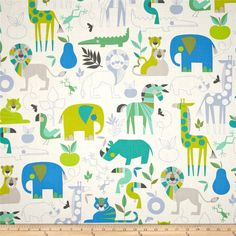 Alexander Henry Monkey's Bizness Zoo Bisou Pool from @fabricdotcom  Designed by DeLeon Design Group for Alexander Henry, this cotton print is perfect for quilting, apparel and home decor accents. Colors include turquoise, citrine, periwinkle, charcoal, blue and white.