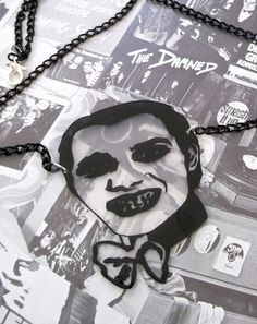 David Vanian. The Damned illustrated shrink plastic charm necklace.Punk. Goth. by littleMclothing on Etsy