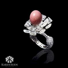 A rare conch pearl is perched on sliced diamonds in this unique ring Karen Suen Fine Jewellery