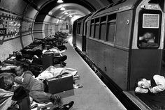Londoners sleeping underground in subway for protection during German bombing raids, 1941.