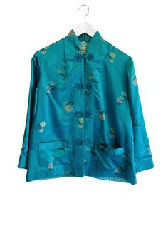 Turquoise Brocade Jacket Turquoise, Jackets, Vintage, Down Jackets, Jacket, Vintage Comics, Cropped Jackets, Primitive, Teal