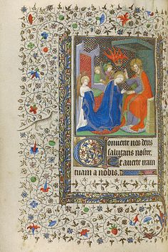 The Coronation of the Virgin  	      Unknown  French, France, about 1415 - 1420  Tempera colors, gold leaf, and gold paint on parchment  8 1/16 x 5 13/16 in.  MS. 22, FOL. 88V