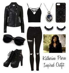 """Katherine Pierce Inspired Outfit"" by giuliagiugni on Polyvore featuring moda, Topshop, Witchery, Felony Case e Boohoo"