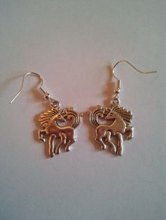 Silver metal coloured Horse Pony charm Earrings by CraftyBunnyDog, £2.99