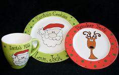 santa milk and cookies plate | Cookies for Santa Milk and Reindeer Treats by rschmitz on Etsy
