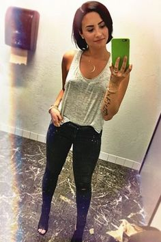 Demi Lovato wearing Lucky Star Midnight Moon Necklace, Siwy Leona Jeans in Star Gazer, T by Alexander Wang Gray Heather Melange Top and Vince Addie Booties