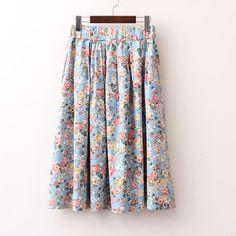 Free shipping vintage flower elastic waist skirts $28.90