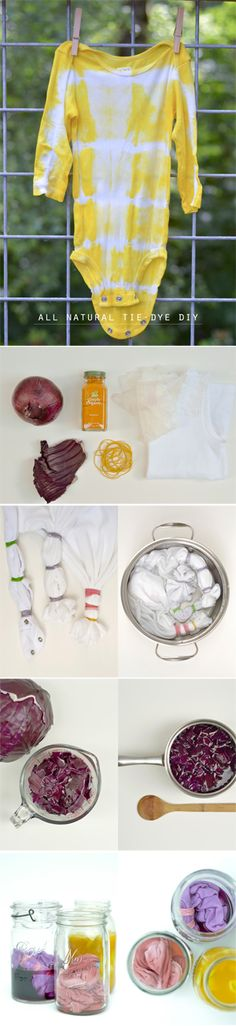 {All Natural Tie-Dye DIY} *Get creative with the kids Beckett would love to tie die. Crafts To Do, Crafts For Kids, Arts And Crafts, Diy Crafts, Craft Projects, Sewing Projects, Craft Ideas, Shibori, Room Tapestry
