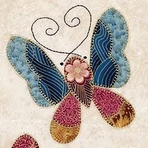 A companion wall hanging to the China Blue Butterflies Quilt, the wall hang...