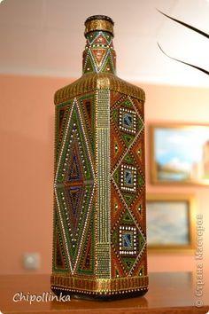 Декор предметов Роспись Точечная роспись бутылок Бутылки стеклянные фото 14