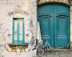 french door in turquoise