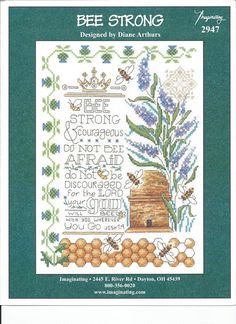 Here is a new pattern from Diane Arthurs. This mixes her signature borders (this time in a thistle pattern) with lavendar and the industrious bee. I love the Bible verse and the color scheme on this pattern. Available from Stoney Creek: https://store.stoneycreek.com/imaginating---bee-strong-2947-p24128.aspx
