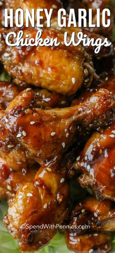 We cannot get enough of these Honey Garlic Chicken Wings! A sweet and slightly s… We cannot get enough of these Honey Garlic Chicken Wings! A sweet and slightly spicy sauce coats crisp chicken wings. And the best part is these wings are baked, not fried! Honey Garlic Chicken Wings, Chicken Wing Sauces, Honey Wings, Sauce For Chicken Wings, Oven Baked Chicken Wings, Cooking Chicken Wings, Chicken Breasts, Sauce For Wings, Honey Garlic Chicken Sauce