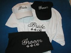 Embroidered Bride and Groom Set - 2 T-Shirts  -  NEW - Add your date for Free. $19.99, via Etsy.