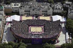 An aerial view shows the Beach volleyball venue at Horse Guards Parade during the London 2012 Olympic Games at the Olympic Park, August 3, 2012. REUTERS