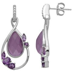 Chloe and Zoe Sterling Silver Amethyst and White Quartz Teardrop... ($114) ❤ liked on Polyvore featuring jewelry, earrings, purple, round earrings, white jewelry, oval earrings, sterling silver amethyst earrings and purple jewelry