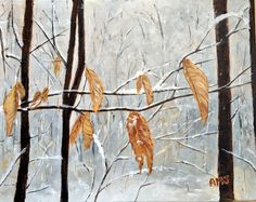 """""""Winter leaves"""" #art #painting #winter #nature #trees #snow"""