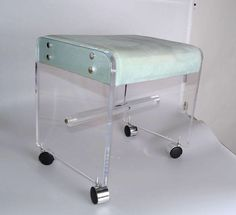 Mid-Century Modern Lucite Stool On Casters on Chairish.com