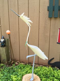 """White & Gray Spiked Egret (about 28"""" tall)"""