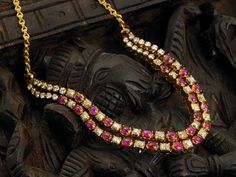 2 layered ruby and diamond necklace