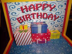 Handmade Happy Birthday Pop Up Card with 3D Present by treasurekh, $10.00