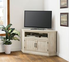 August Grove Tacoma Solid Wood Corner TV Stand for TVs up to 55 inches Colour: Antique White/Honey Tobacco Corner Tv Stand Rustic, Corner Tv Stands, Corner Tv Stand Ideas, Tv In Corner, Corner Tv Mount, Corner Table, Corner Shelf, Corner Unit, Tv Stand For Sale
