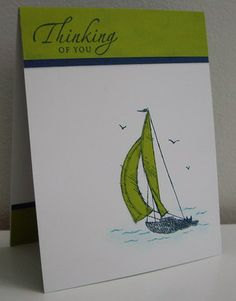 Love the Lucky Limeade card stock layer at the top. Image stamped on white cs. Then stamp onto LL cs and cut out sail, glue to main image. Sponge dauber for water