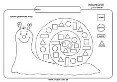 Slimák - geometrické tvary. Worksheets For Kids, Printable Worksheets, Activities For Kids, Math Skills, Kids And Parenting, Kindergarten, Notes, Album, School