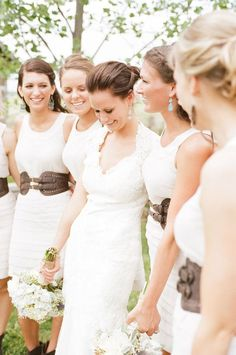 I love her dress....I love the bridemaids dresses and the complimentary belt...I just love it all!