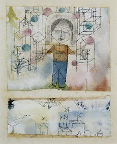 Paul Klee 'Chosen Boy' 1918 Watercolor and ink on primed linen Cut and recombined on cardboard 4 x 5 Kandinsky, Klimt, Abstract Expressionism, Abstract Art, Paul Klee Art, Art History Memes, Picasso, Statues, Weird Shapes
