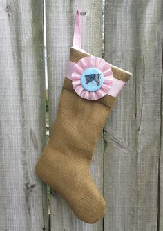 Burlap Horse Show Ribbon Christmas Stocking - Holiday Decor - Equestrian Style - Deck the Halls