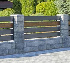 Modular fence system ROMA Classic - Concrete fences - producer of fences, posts, blocks and hollow bricks - JONIEC Front Yard Fence, Diy Fence, Backyard Fences, Backyard Landscaping, Garden Fencing, Fence Ideas, House Fence Design, Modern Fence Design, Gate Design
