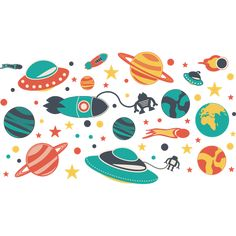 Kit de vinilos infantiles naves espaciales y estrellas