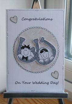 Wedding Congratulations Horseshoe Couple Card by Crafty Mushroom @Folksy