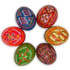 "2.5"" Set of 6 Hand Painted Ukrainian Wooden Easter Eggs"