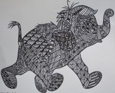 zentangle animals | Jungle book baby elephant doodle | Zentangle/doddle- animals