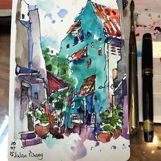 Spaces between buildings. Back alley @ Jalan Pisang #urbansketcherssingapore #urbansketching #urbansketchers #singaporestreet #sketching #usksingapore2015 | por PaulArtSG