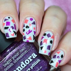 Hi loves!!! ❣❣❣ . This is my entry for #ppnailartquarterly2 The theme for this event is geometric nails, I made a geometric pattern with LakoDom + Allure + Paris + Darcy + Pandora from @picturepolish