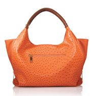 Ladies (and Gents who buy for their ladies), this bag is phenom.....  Strut your stuff-wallet, keys, even a small laptop—in style with this outfit-brightening, ostrich-embossed bag. Sides zip up for a hobo shape or unzip to convert to a (wider) tote (as shown). Faux ostrich body with faux leather handle and shiny goldtone hardware. Zippered exterior pocket; 3 interior pockets: 2 slip pockets at front