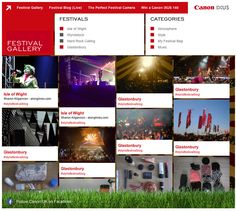 Canon Festival Gallery syncing images from Glastonbury, Isle of Wight and more in themes.
