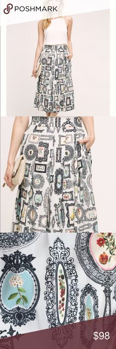 Antique Frame Midi Skirt from Anthropologie NWT Brand new with tags. Adorable, whimsical antique picture frames against an ivory background. Pleated and midi-length. Has pockets! Fully lined. Brand is Pankaj & Nidhi, made in India. Anthropologie Skirts Midi