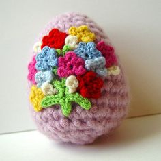 Crochet Easter Egg Cashmere Floral Bouquet by meekssandygirl