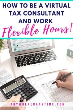 How to be a virtual tax consultant and work flexible hours from home! Our interview with business owner and bookkeeper, Kim Erick, tells you what it's like to offer tax services and how she manages to work far fewer hours per week for more income! Work From Home Business, Work From Home Tips, Make Money From Home, Business Tips, Make Money Online, Online Business, Bookkeeping Business, Working Mom Tips, Tax Preparation