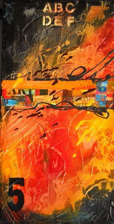 URBAN DECAY 5 Art Painting by Sarah Ettinger - acrylic and mixed media collage work on canvas http://www.etsy.com/shop/SarahEttingerArt