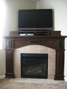 This is an after pic of the same fireplace...I made a removable shelf for equipment and integrated the surround sound system into the finished product. All the trim work was made not store bought. Sony Home Theatre, Home Theater, Best Surround Sound System, Wireless Surround Sound, Trim Work, Household, Shelf, Store, Projects