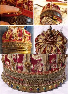 Make a crown out of an old bird cage and fabric