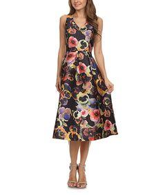 Look at this #zulilyfind! Black & Indigo Floral A-Line Dress by Karen T. Design #zulilyfinds